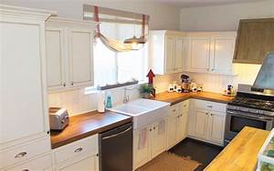 charming and classy wooden kitchen countertops With kitchen colors with white cabinets with diy barn wood wall art
