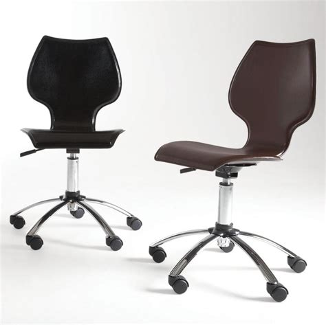 armless desk chair on casters whitevan