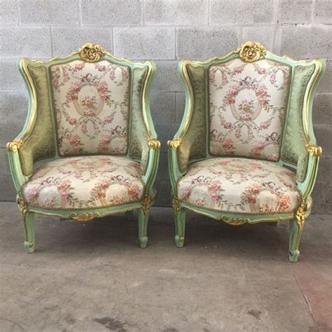 shabby chic settee antique louis xvi sofa settee gold leaf green