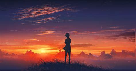 Anime Sunset Wallpaper Hd - anime anime sunset sky clouds original