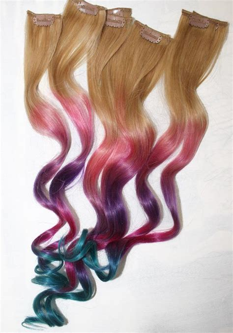 Ombre Tie Dye Hair Tips Dirty Blonde Human Hair Extensions