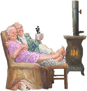 bon plan canapé les grands parents près du poêle