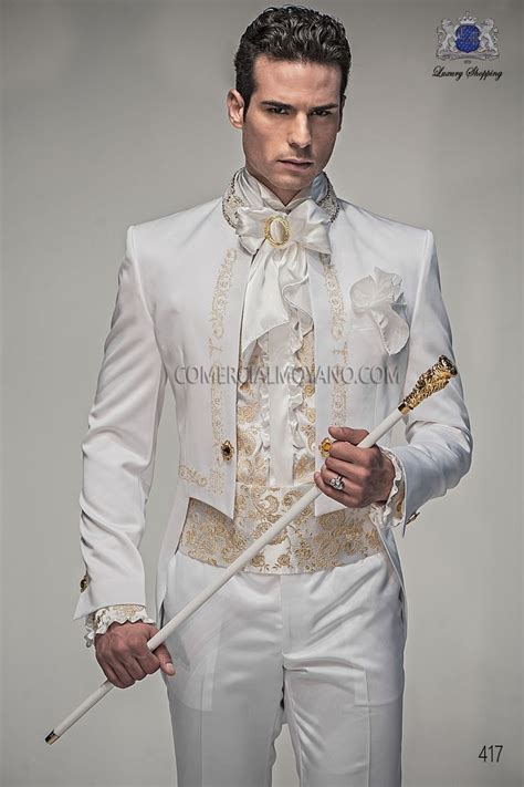baroque italian white satin wedding suit italian men