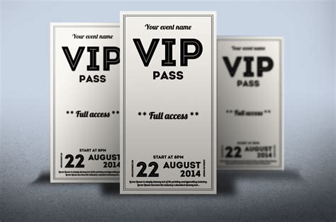 clean retro style vip pass card card templates