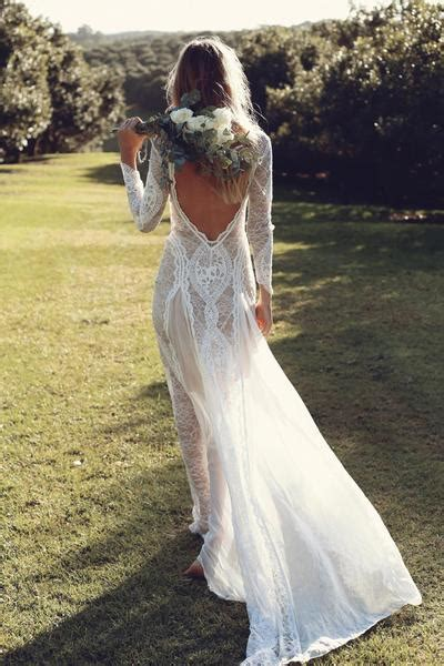 bohemian long sleeve open  wedding dress bridal gown