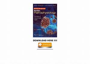 Study Guide To Accompany Porth U0026 39 S Pathophysiology  Concepts