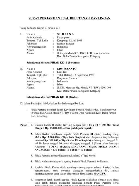 surat perjanjian jual beli tanah kavlingan