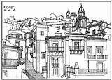 Coloring Village Architecture France Pages Adults Drawing Italy Adult Building Drawings Printable Colour Famous Books Illustration sketch template