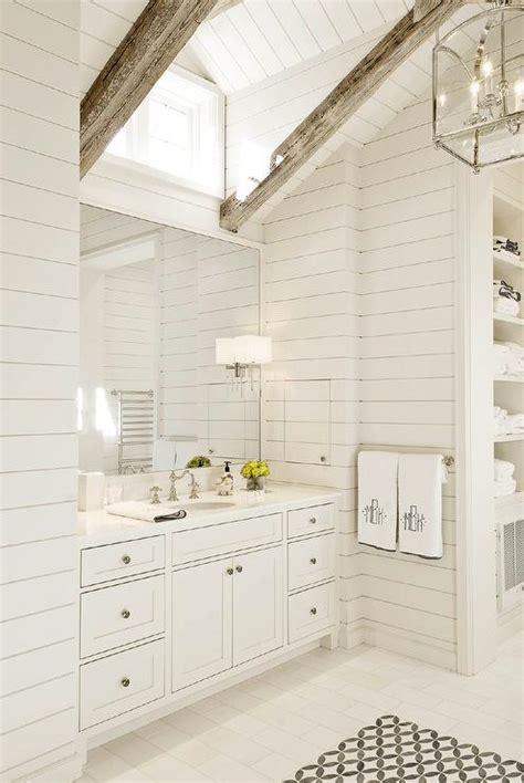White Shiplap Bathroom by Shiplap Vaulted Bathroom Ceiling With Rustic Wood Beams