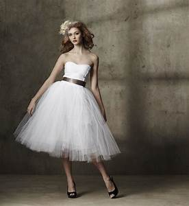 tea length wedding dress tulle strapless onewedcom With tea length dresses wedding