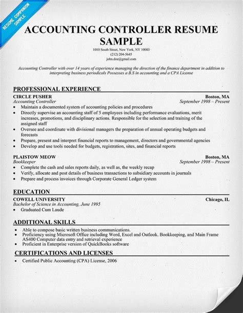 cv financial controller accounting controller resume resumecompanion com