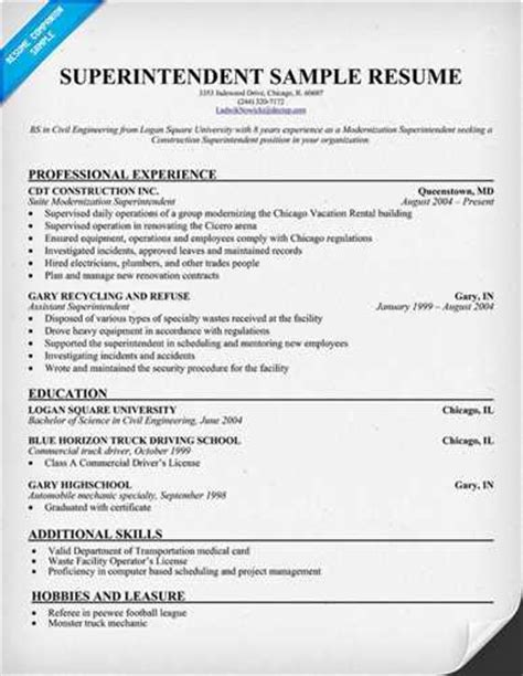 building superintendent resume sle best format