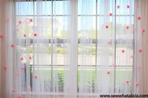 tutorial pom pom sheer curtains sewing