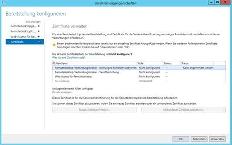 zertifikat laesst sich fuer rds rollen nicht konfigurieren