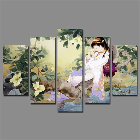 japanese wall decoration ideas retro japan style sleeping beauty pictures decoration flowers tree canvas painting japanese wall