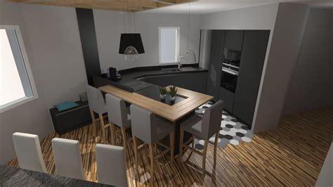 cuisine mat cuisine moderne gris anthracite mat et bois massif