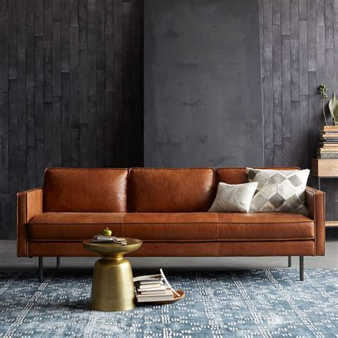 canapé cuir vintage axel leather sofa 226 cm elm uk