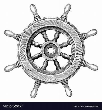 Wheel Steering Ship Drawing Vector Hand Illustration
