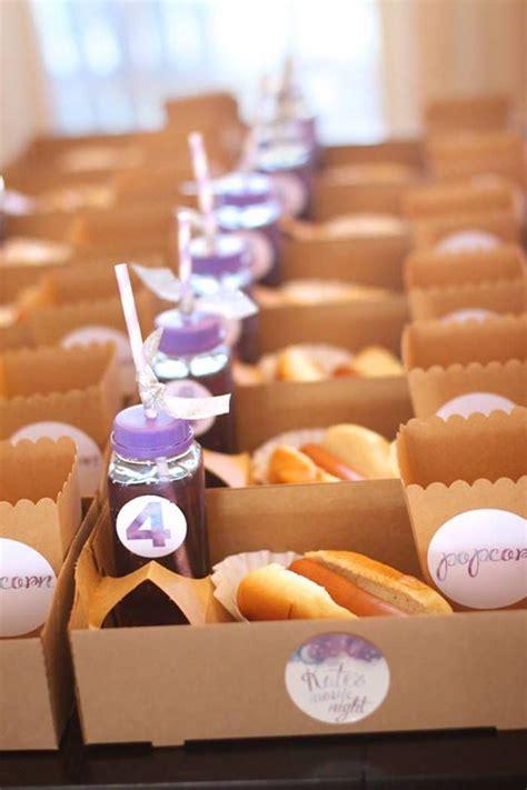 birthday party ideas rookie popcorn pajamas purple snack box popcorn