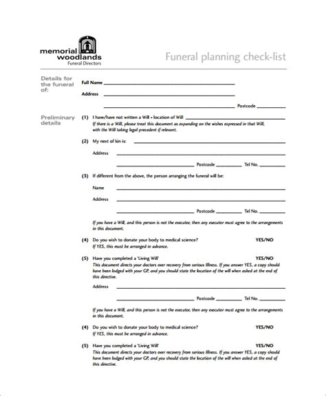 sample funeral checklist templates  excel