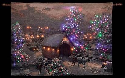 Kinkade Thomas Christmas Scenes Tapestry Winter Wallpapers
