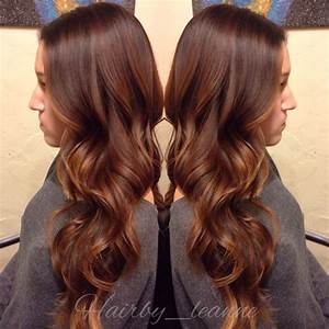 Rich brown sombre hair color with golden brown balayage ...