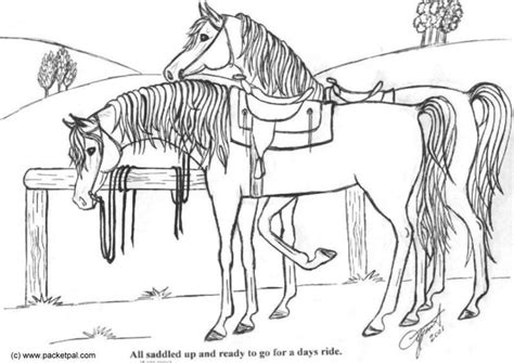 coloriage chevaux selles img
