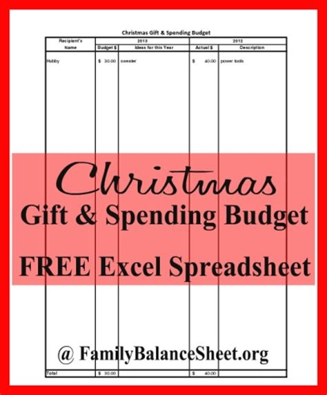 free christmas spending budget excel spreadsheet