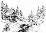Cabin Woods Mountain River Sketch Drawing Shutterstock Montagna Bridge Montagne Landscape Pencil Drawings Della Near Covered Bossen Berghut Stream Mountains sketch template