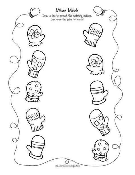 preschool mitten match activity page crafts and 534 | bfbef40d83d699108ec433ce45b4b9ea