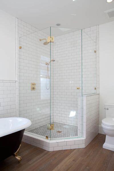white subway tile  corner glass shower kim grant