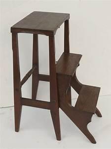 Vintage, Folding, Library, Steps, Step, Stool, Ladder, Black, Tulip, Antiques, Ltd