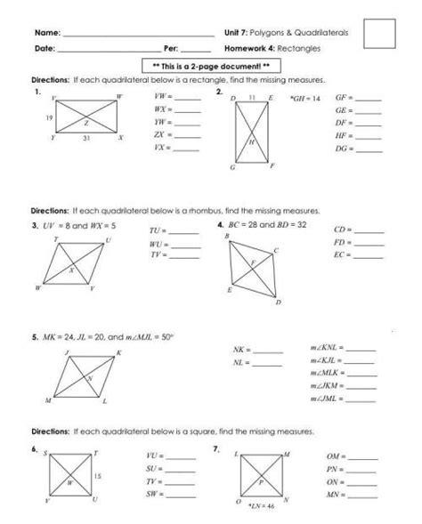 Unit 7 polygons quadrilaterals homework 4 rectangles answers : Unit 7 polygons and quadrilaterals homework 4 rectangles ...