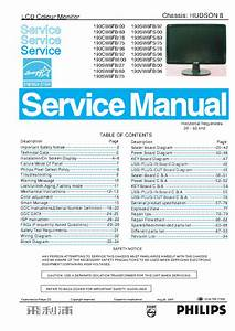 Philips 190c S V W8fb Xx Hudson 8 Lcd Monitor Service