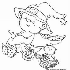 Print Out Halloween Teddy Bear Dressed Witch Coloring Pagefree Printable Coloring Pages For Kids
