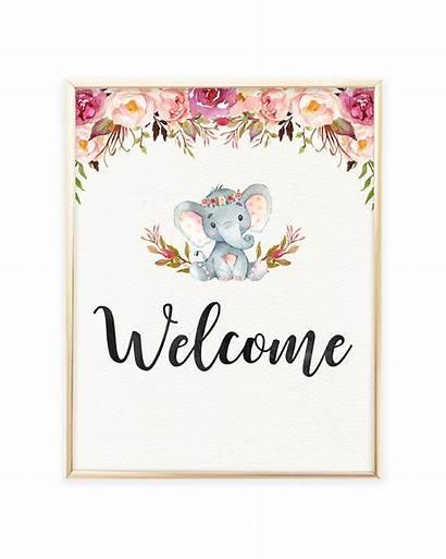 Welcome Shower Printable Elephant