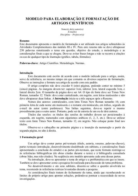 modelo de artigo em word nas normas da abnt 2016 como modelo de artigo científico básico com normas abnt