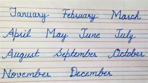 months   year cursive writing  beginners month