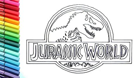 drawing  coloring jurassic world logo dinosaurs color