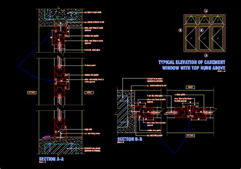 aluminium frame casement window dwg block  autocad