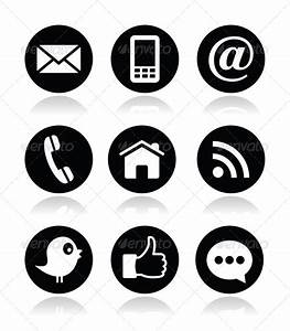 Contact, Web, Blog and Social Media Round Icons | Social ...