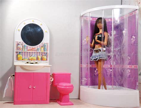 Dollhouse Bathroom Furniture Shower Room Closestool Mirror