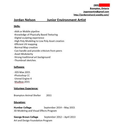 resume help critique polycount