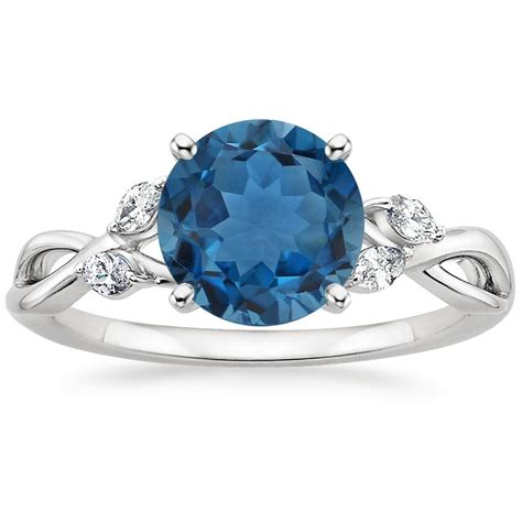 blue topaz willow ring in 18k white gold brilliant earth