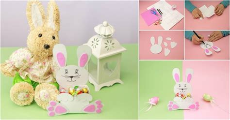 diy adorable paper easter bunny candy holder