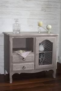 meuble bas patinee taupe avec grillage de poule With exceptional meuble cuisine couleur taupe 2 peinture et patine sur meubles