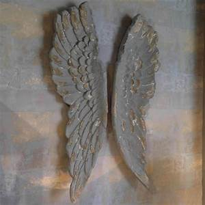 Angel wings large antiqued grey or silver wall art by