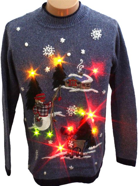 light up ugly sweater womens light up ugly christmas fishing snowman sweater