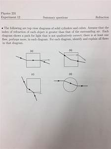 Solved  Physics 231 Experiment 12 Summary Questions Refrac