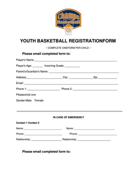 youth basketball registration form printable